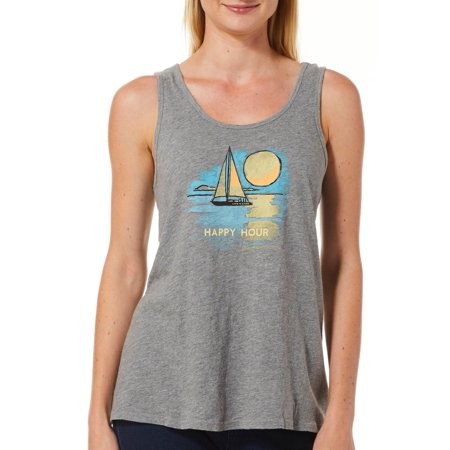 Life is Good Happy Hour Sailboat Breezy Tank Top Heather Gray Life Is Good Girls Tank Top