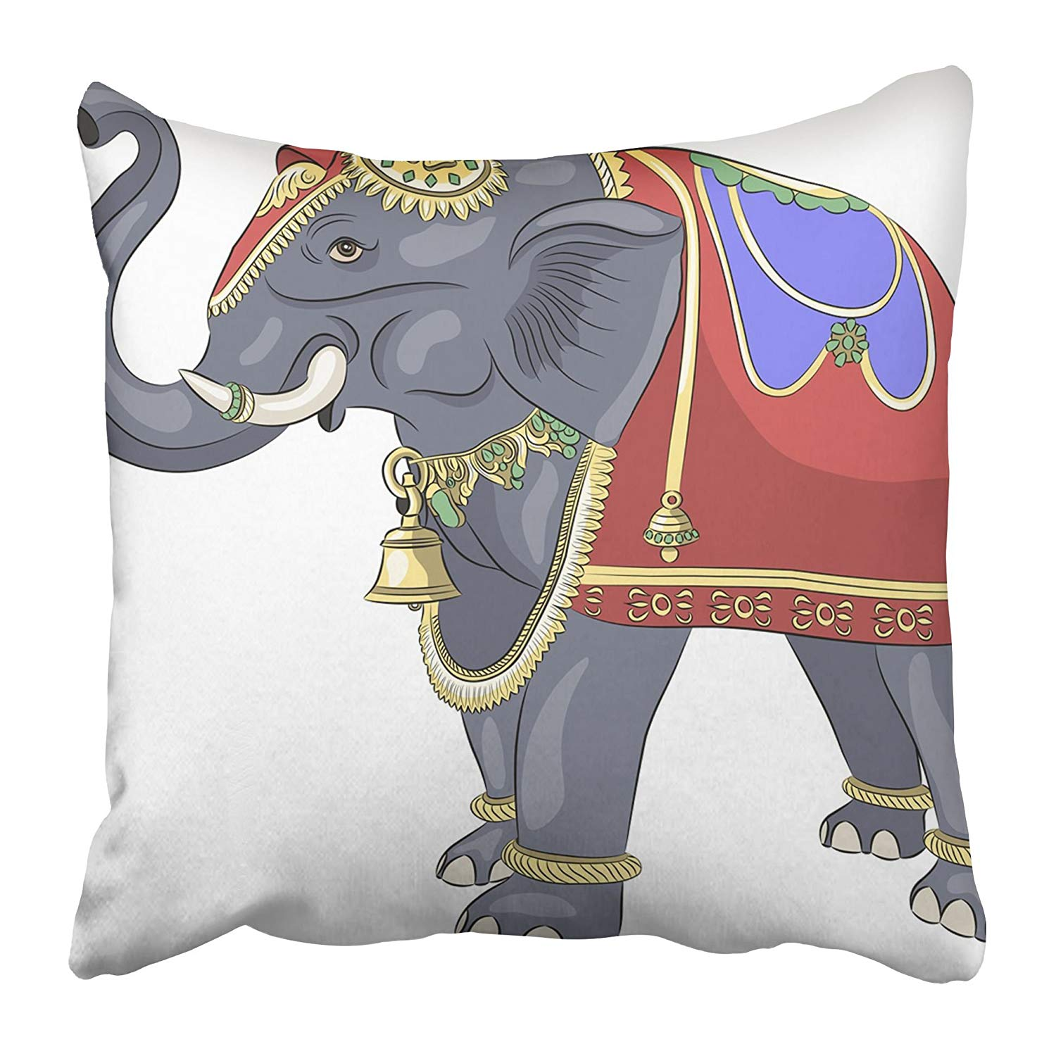 USART Gray Animals Decorated Bridal Elephant Asian Color Culture Gold Heavy Holy Pillow Case Cushion Cover 18x18 inch