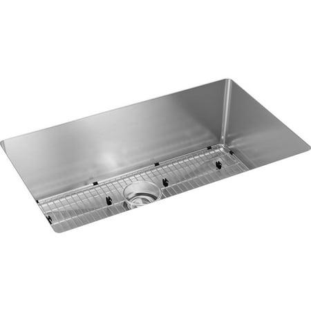 Elkay Crosstown 16 Gauge Stainless Steel 32-1/2u0022 x 18u0022 x 10u0022, Single Bowl Undermount Sink Kit