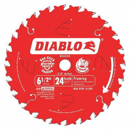 Circular Saw Blade, Carbide Tip, 24 Teeth DIABLO D0624X by Freud