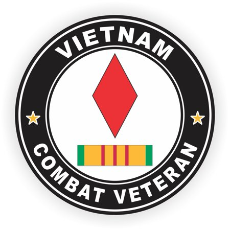 3.8 Inch 5th Infantry Division Vietnam Combat Veteran with Ribbon Decal