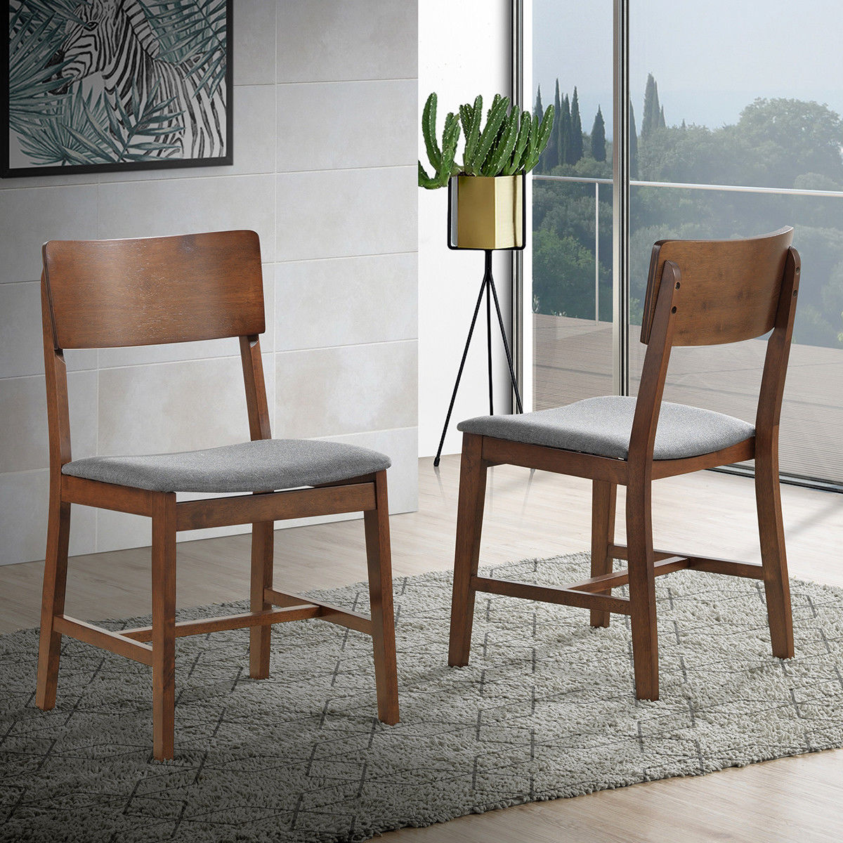 Gymax Set Of 4 Mid Century Modern Dining Side Chairs Fabric