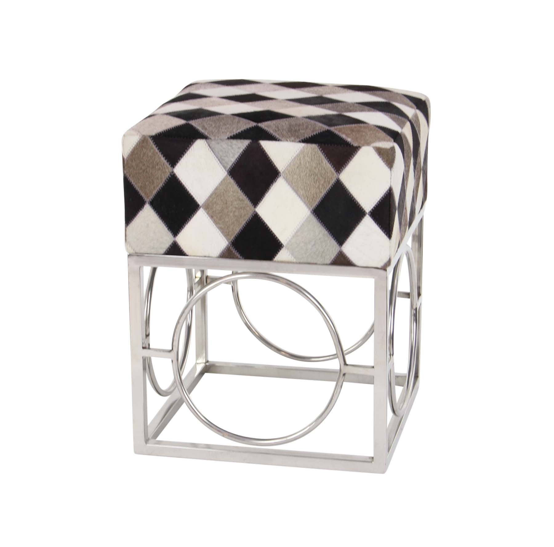 Decmode Contemporary 21 Inch Checkered Leather And Metal Accent