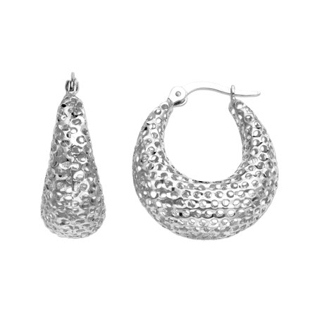 Mesh Hoop Earrings in 14kt White Gold (Mesh Ring Earrings)