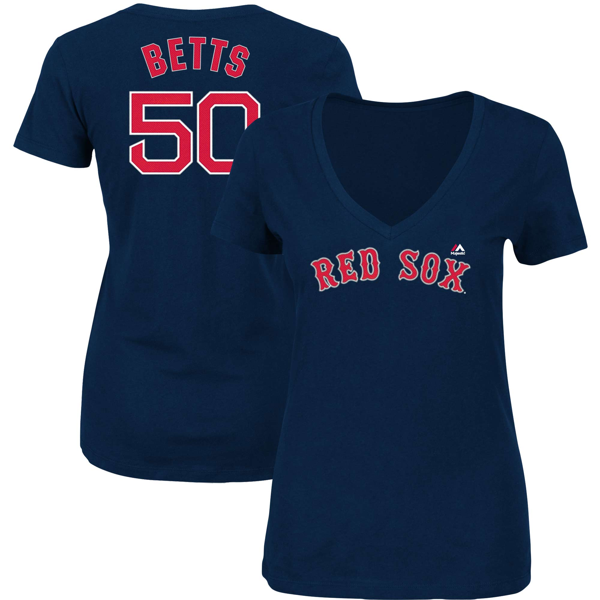 Mookie Betts Boston Red Sox Majestic Women's Name & Number V-Neck T-Shirt - Navy