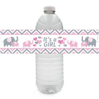 Elephant Baby Shower Water Bottle Labels | 24ct | Pink Its a Girl Decoration Stickers