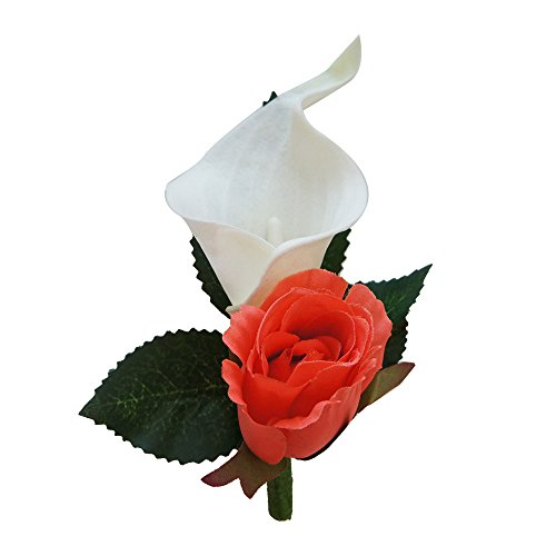 Boutonniere-Real Touch Calla lily with Stem,bling and pin for prom,wedding,events 4pc set