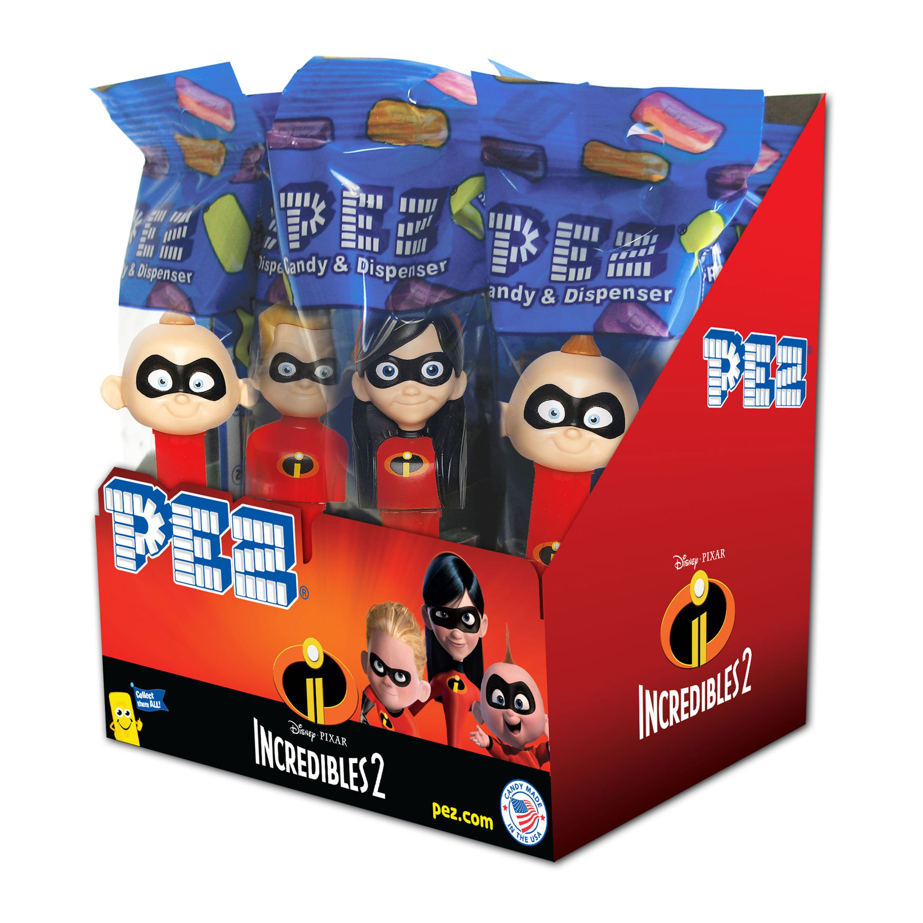 PEZ Candy Incredibles II Assortment, candy dispenser plus 2 rolls of assorted fruit candy, box of 12