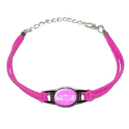 Leather Name Bracelets (Kaitlyn - Name Novelty Suede Leather Metal Bracelet)
