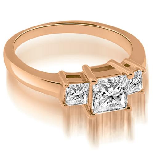 """1.15 cttw. 14K Rose Gold Basket Three Stone Princess Diamond Engagement Ring (I1, H-I)"""