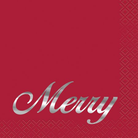Foil Elegant Red Christmas Cocktail Napkins, 16ct](Christmas Paper Products)