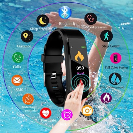 Fitness Tracker HR, Activity Tracker Watch with Heart Rate Monitor, Waterproof Smart Bracelet with Step Counter, Calorie Counter, Pedometer Watch for Kids Women and - Plus Heart Rate Monitor Watch