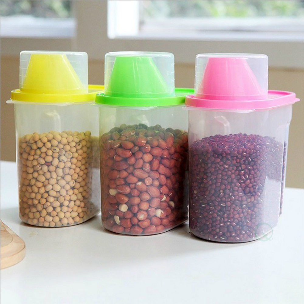 """Small BPA-Free Plastic Food Saver, Kitchen Food Cereal Storage Containers with Graduated Cap, Set of... by Quickway Imports Inc"