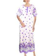 Chemin de Moda Women's Short Sleeve Button Peony Print Floor-Length Long Nightgown
