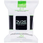 DUDE Face Wipes 3 in 1 Cleanse Energize & Moisturize with Pro-Vitamin B5 (30ct)