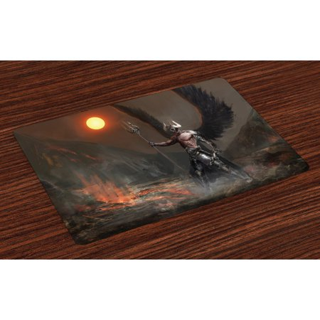Fantasy World Placemats Set of 4 Knight with Wings Feathers Angel Devil Moon Fire Fantasy Night Illustration, Washable Fabric Place Mats for Dining Room Kitchen Table Decor,Brown Yellow, by - Devil And Angel Wings