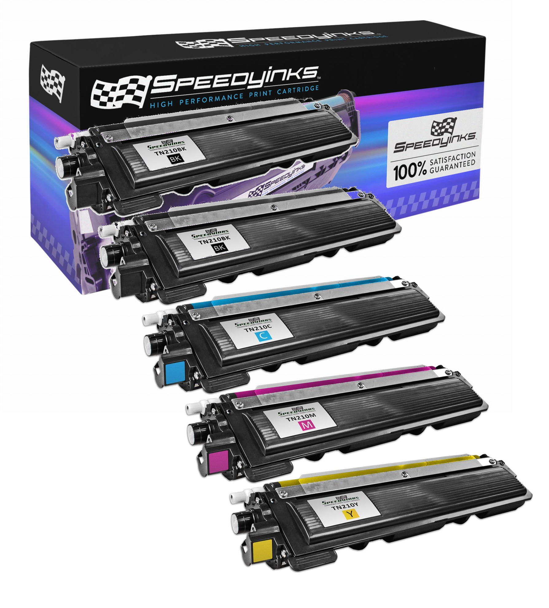 SpeedyInks - Brother Compatible TN-210 Set of 5 Laser Toner Cartridges: 2 Black TN210BK of 1 of each Cyan TN210C, Magenta TN210M, Yellow TN210Y