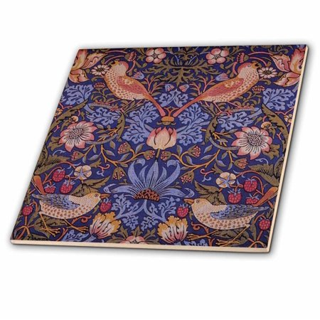 3dRose Image of William Morris Strawberry Thief With Birds - Ceramic Tile, 4-inch