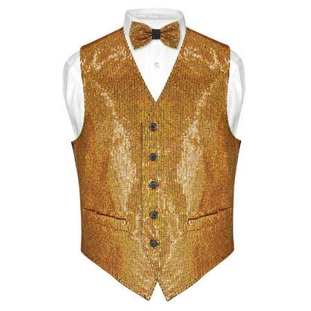 Men's SEQUIN Design Dress Vest & Bow Tie GOLD Color BOWTie Set for Suit Tux - Sequin Tux