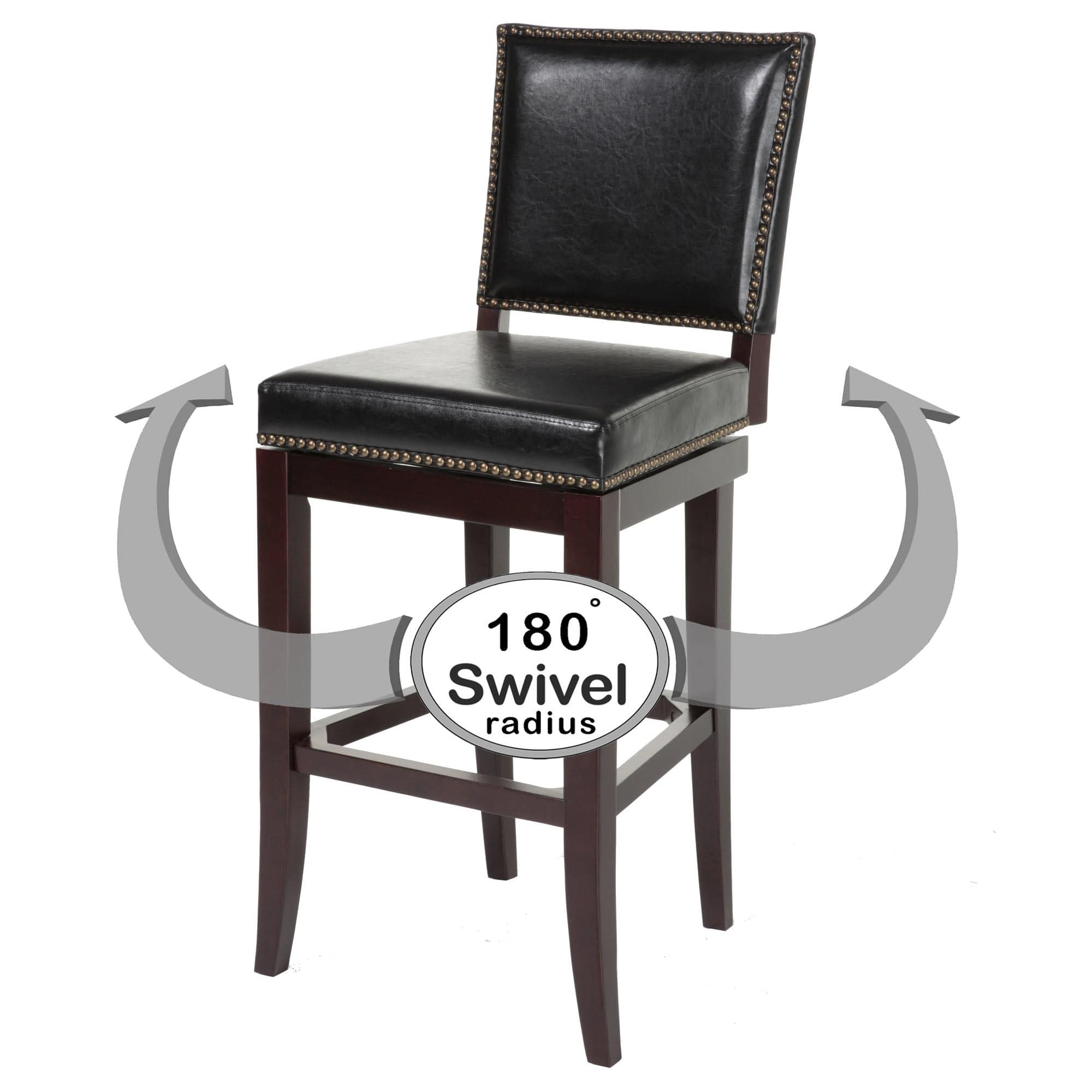 Sensational Sacramento Swivel Seat Counter Stool With Espresso Finished Wood Frame Black Faux Leather Upholstery And Nailhead Trim 26 Inch Seat Height 2 Pack Uwap Interior Chair Design Uwaporg