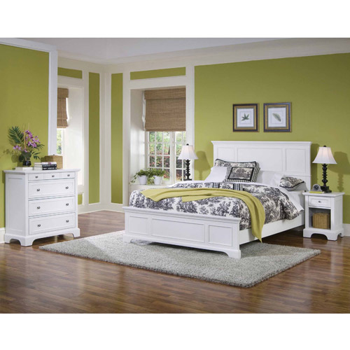 Home Styles Naples Queen Panel Bed 3 Piece Bedroom Set in White Finish by Home Styles