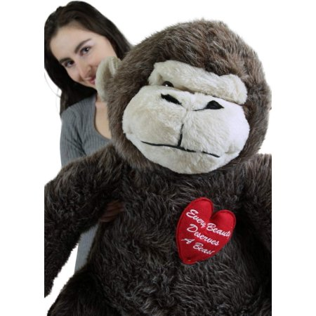 American Made Giant Stuffed Love Monkey 40 inch Brown Soft, Holds Heart Every Beauty Deserves a (Beast Medium Soft Toy Beauty And The Beast)