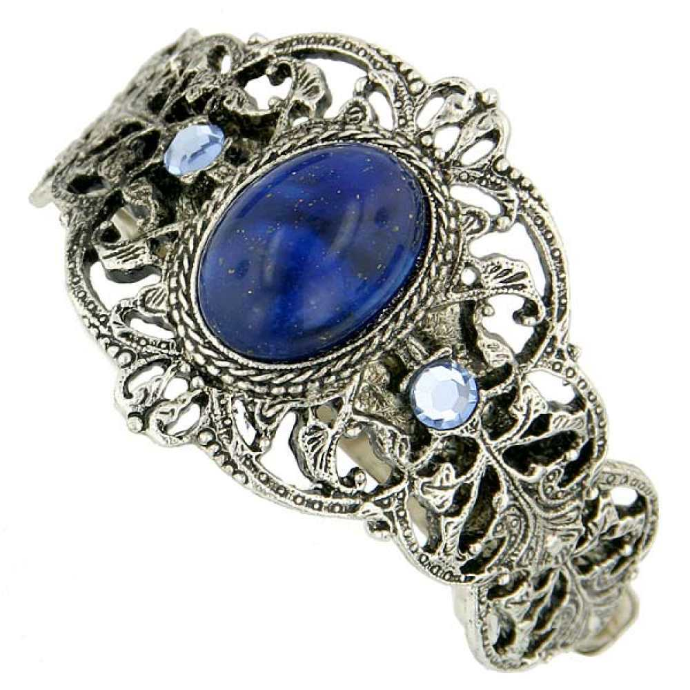 1928 Jewelry Womens Silver-Tone Oval Blue/Light Sapphire Crystal Ponytail Holder