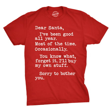 Mens Dear Santa I'll Buy My Own Stuff Tshirt Funny Christmas Present Tee For Guys