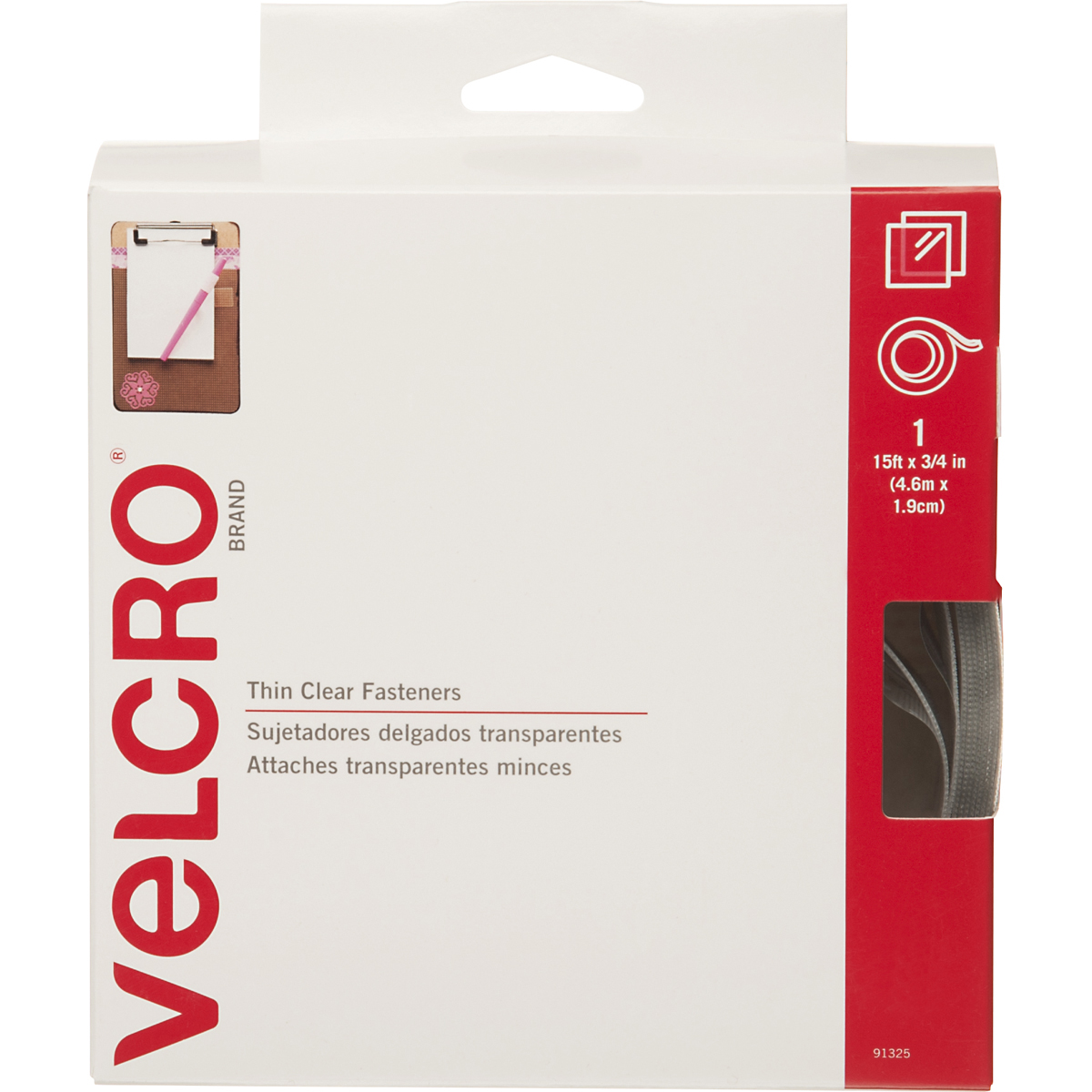 "Velcro(R) Brand Thin Fasteners Tape 3/4""X15'-Clear"
