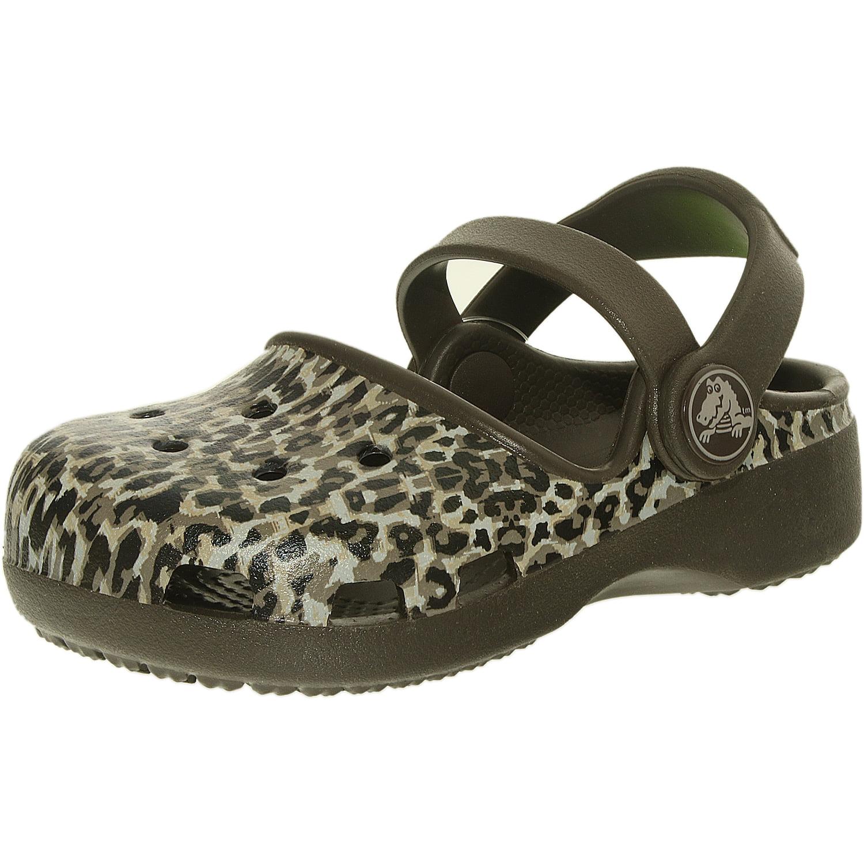Crocs Girl's Karin Leopard Clog Espresso Ankle-High Flat Shoe - 6M