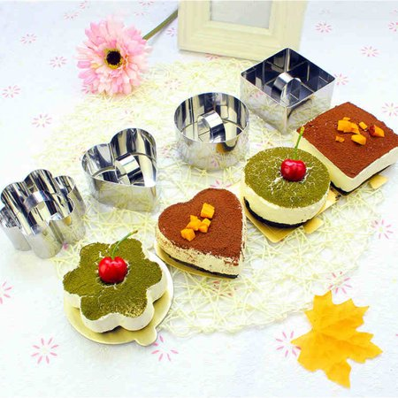 Stainless Steel Small Cake Rings Multiple Moulding Shapes for Choice Mousse Cookies Chocolate Pastry Mini Baking Mold with Pusher Lid Square - image 1 de 7