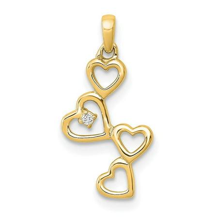 Roy Rose Jewelry 14K Yellow Gold .01-Carat Diamond Accent Four Hearts Pendant 14k Gold Heart Key