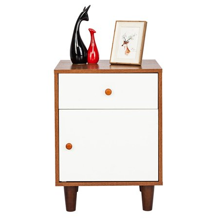 One Drawer One Door Bedside Cabinet Night Table Walnut Color & White Bedroom Furniture Nightstands Simple Style Furniture US Delivery