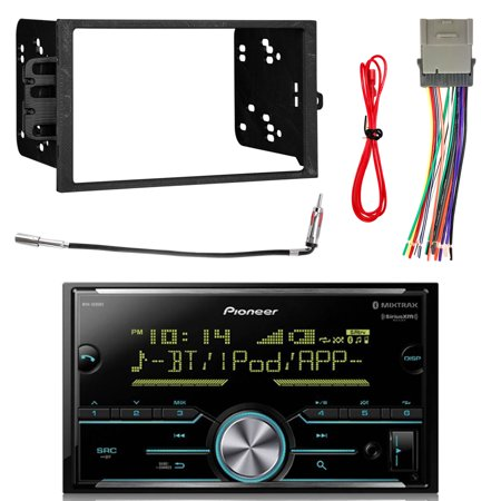 Pioneer Vehicle Digital Media Double DIN Receiver with Bluetooth with Enrock Double DIN Installation Dash Kit, Enrock Antenna Adapter GM Car Vehicle and Enrock Radio Wiring Harness (Double Antenna Adapter)