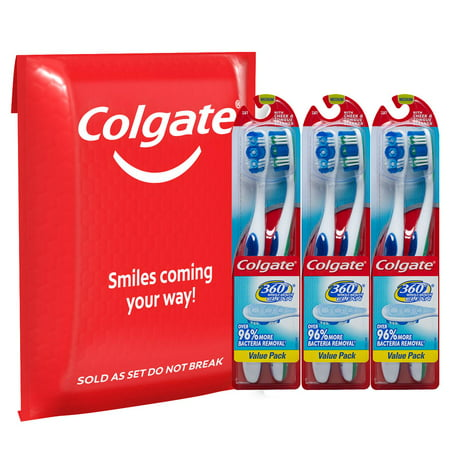 Colgate 360 Toothbrush with Tongue and Cheek Cleaner, Medium - 6 Count