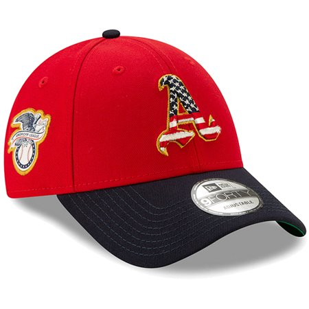 Oakland Athletics New Era 2019 Stars & Stripes 4th of July 9FORTY Adjustable Hat - Red/Navy - OSFA](Red And White Striped Hats)