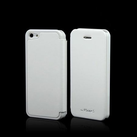 White Diary Flip Cover Hard Case W  Id Slot   Satin Cover For Apple Iphone 5 5S