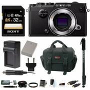 Olympus PEN-F Mirrorless Digital Camera (Black Body) w/ 32GB SD Card & Monopod Bundle