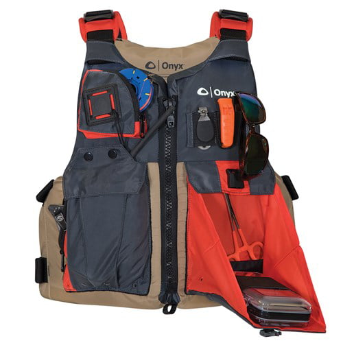 "Click here to buy ""Onyx Kayak Fishing Vest Adult Oversized Tan Grey Kayak Fishing Vest Adult Oversized Tan Grey"" by Onyx."