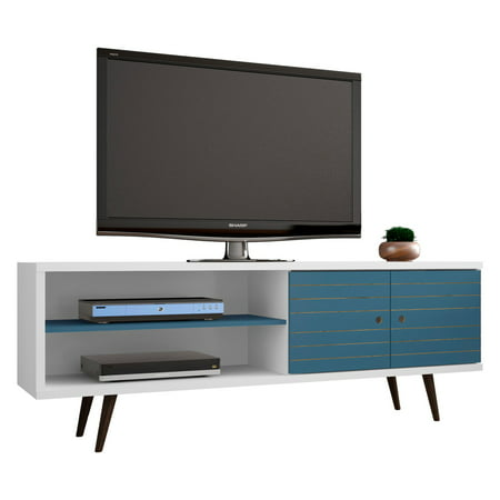 Liberty 62 99 Mid Century Modern Tv Stand With 3 Shelves And 2 Doors In White Aqua Blue Solid Wood Legs