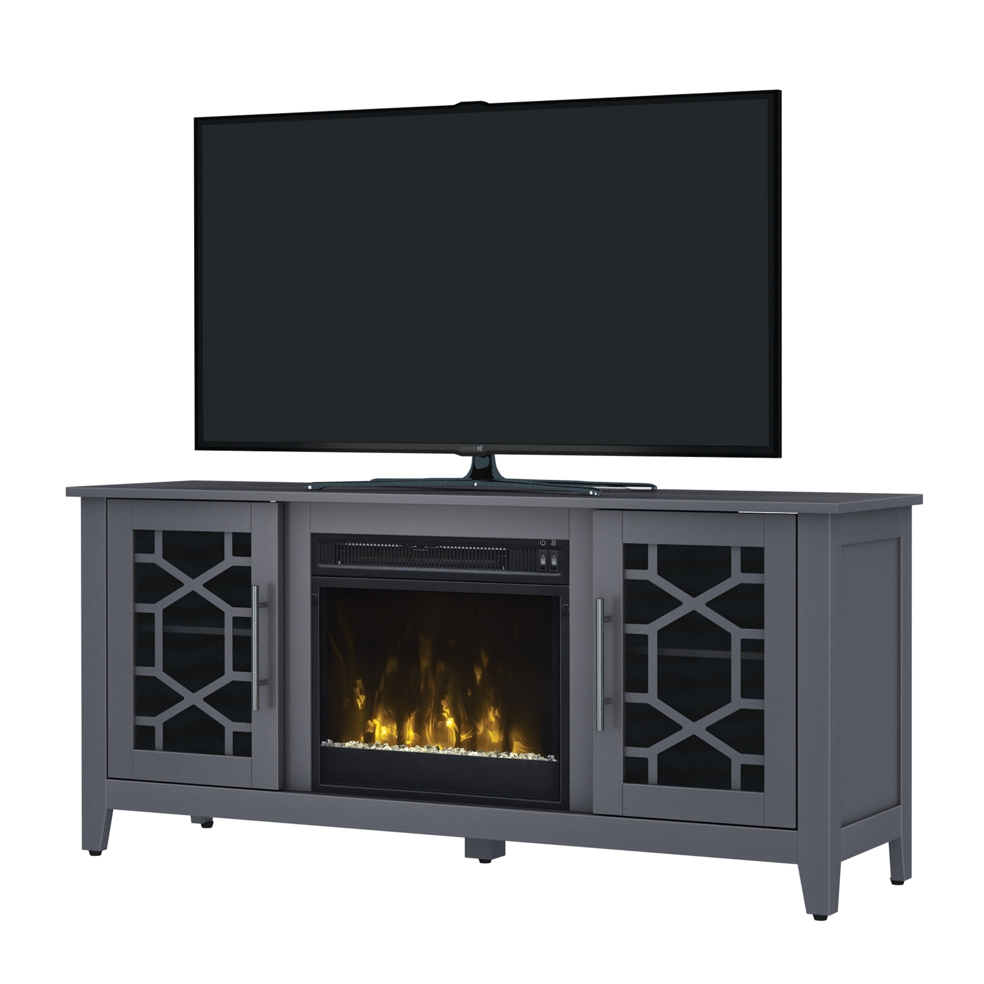 "Elmhurst Cool Gray TV Stand for TVs up to 60"" with Electric Fireplace"