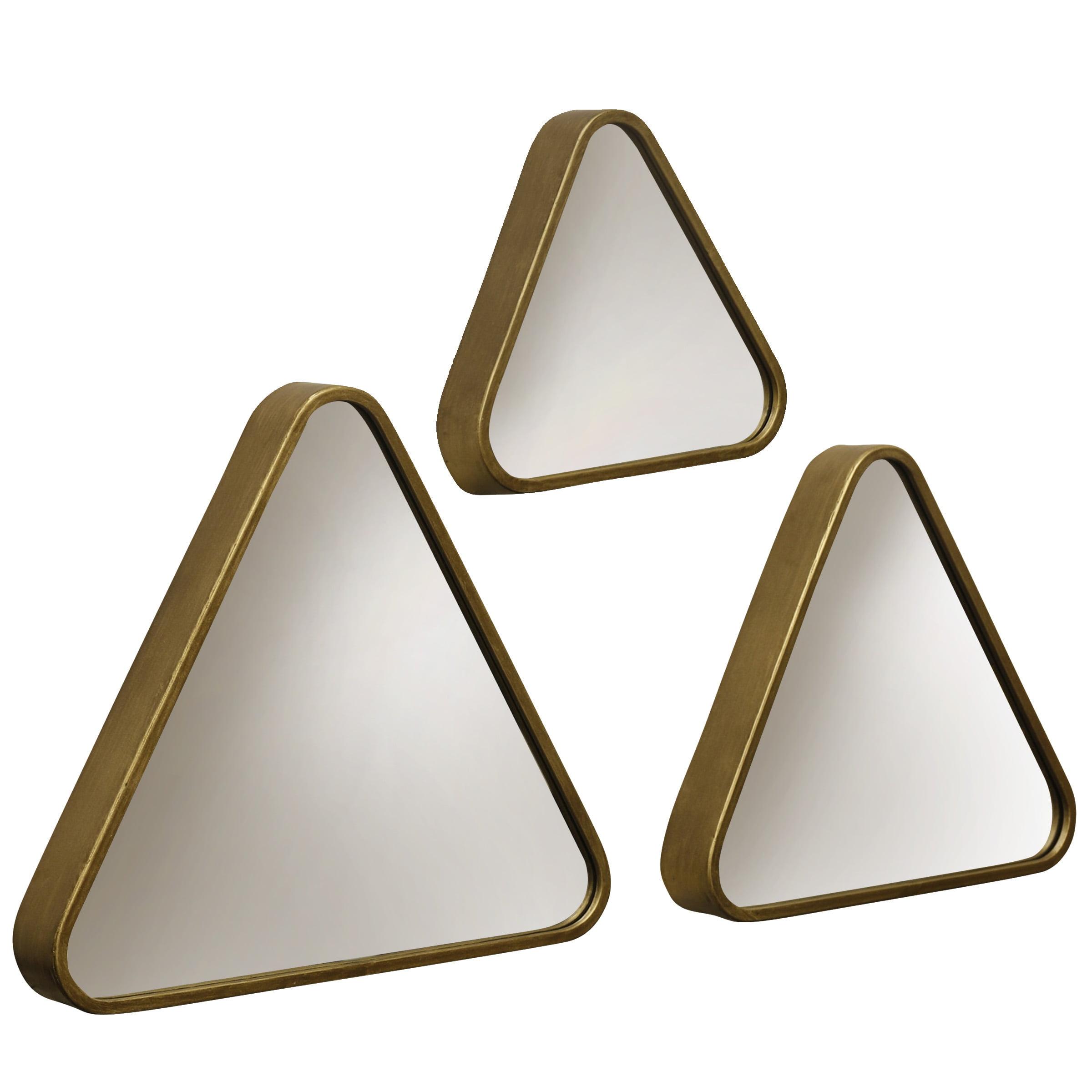 Triangular Framed Wall Mirrors - Gold - Set of 3