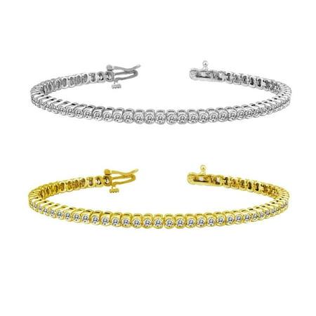 - Auriya 14k Gold 10ct TDW Bezel Set Round Diamond Tennis Bracelet by