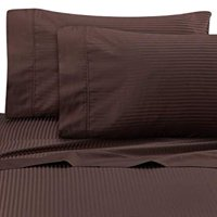 Wamsutta Ultra Soft Sateen 525 Thread Count Full Flat Sheet in Chocolate Stripe