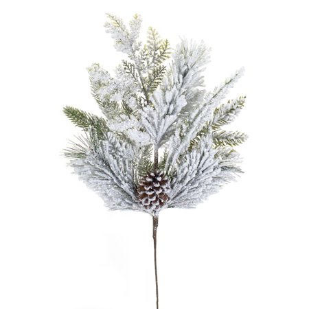 """Club Pack of 12 Subtle Colored Decorative Flocked Pine Spray with Frosted Finish 25"""""""