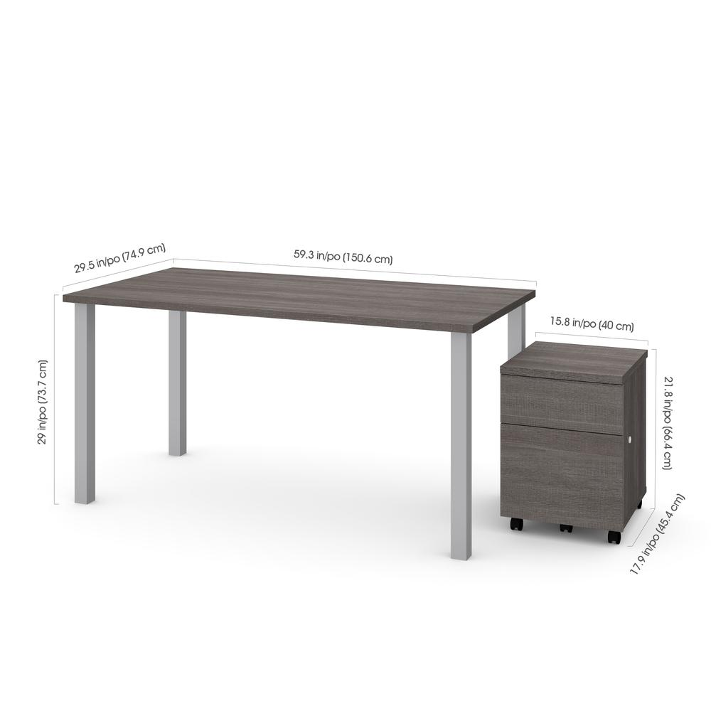 """Bestar 2-Piece 30"""" x 60"""" Table with Square Metal Legs and Mobile Filing Cabinet in Bark Gray by"""