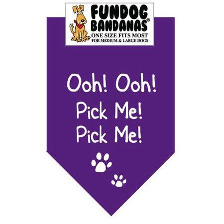 Dog Fun Bandana - Ooh! Ooh! Choisissez moi! Choisissez moi! - Taille unique pour Med à Lg Chiens, écharpe animal pourpre