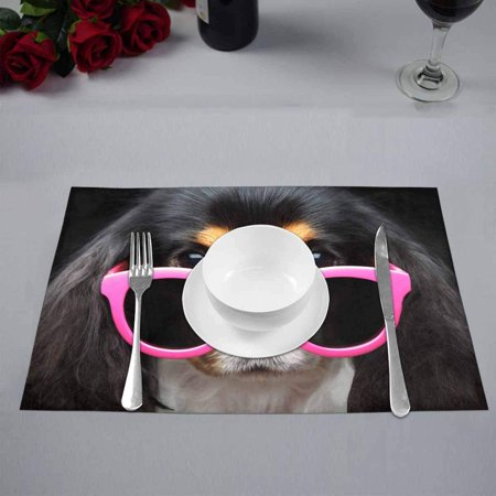 YUSDECOR Funny Puppy Dog Wearing Pink Sun Glasses Placemats Table Mats for Dining Room Kitchen Table Decoration 12x18 inch,Set of 4 - image 3 de 4