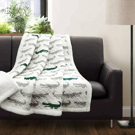 Lush Décor Alligator Print Soft Sherpa Throw - West Point Soft Blanket