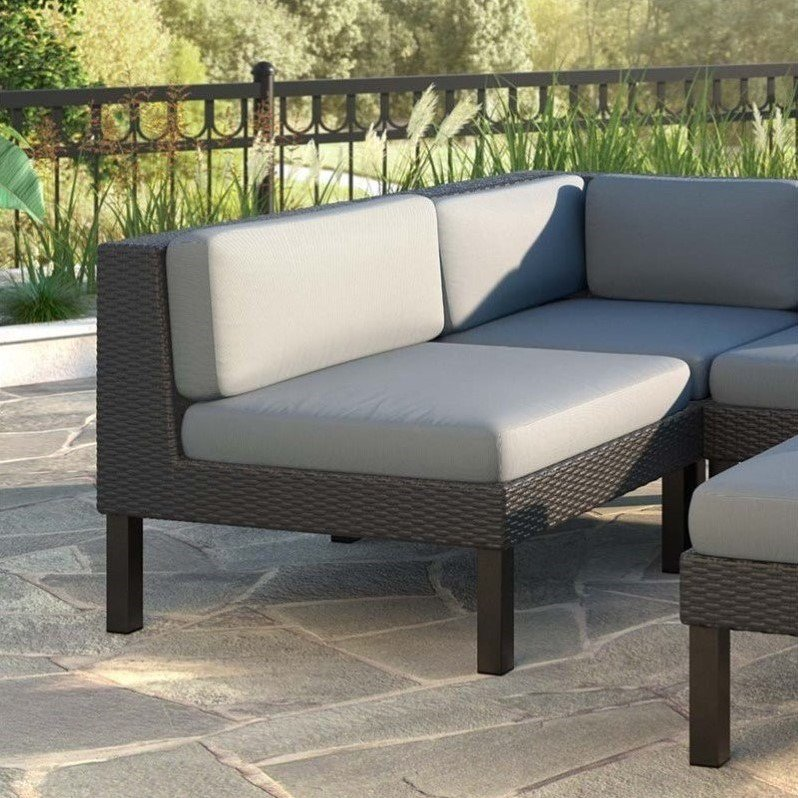 CorLiving Oakland Patio Middle Seat, Dove Grey Cushions